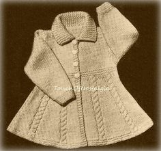 Knitting Pattern - INSTANT DOWNLOAD      Baby/Toddlers - FLARED DRESS COAT With Cable Accents (Sizes 1 / 1 1/2 Yrs / 2 Yrs)  Vintage Knitting