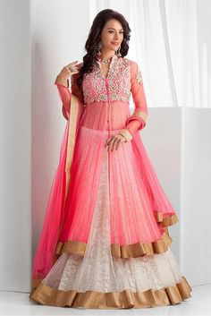 Perfect Look -https://www.cooliyo.com/product/85048/net-and-georgette-party-wear-lehenga-suit-in-pink-colour/