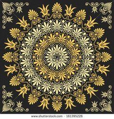 Vector set Traditional vintage golden floral Greek ornament on a black background by kavalenkava volha, via Shutterstock