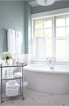 Wood paneling in Sherwin Wms Silver Mist in pretty bathroom by Linda McDougald