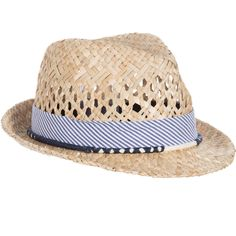 Boys fedora hat byIKKS, made in a lovely, woven straw. There is a blue and white, cotton-feel sash and string, plaited with navy blue and coral red thread, decorating the brim.