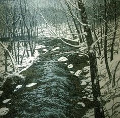 Neil Welliver 1983 - Snow on Alden Brook, a large black and white snow speckled painting with depth and beauty
