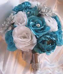 turquoise and grey flower bouquet - Google Search