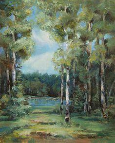 Light Among the Aspens by Alice Hauser Oil ~ 20 x 16