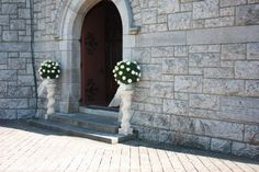 Outside Door Décor and ceremony decorations will depend on your preferences, location, style, and season. Suitable for both Church and Civil Ceremonies Church Wedding Decorations, Flower Decorations, Wedding Church, Outside Wedding, Image House, The Outsiders, Wedding Flowers, Wedding Ideas, Weddings