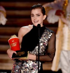 Emotional: Emma Watson won the first MTV Movie Award of the night in the first ceremony th...