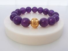 Dark Amethyst and Gold Vermeil Bracelet by KartiniStudio on Etsy
