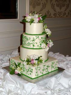Unique Elegant Birthday Cakes   unique contemporary modern elegant romantic white fondant wedding cake ...
