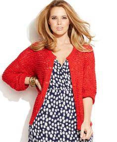 Junarose Plus Size Open-Knit Cardigan