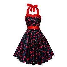 Women's++Print+Black+Swing+Dress+,+Vintage+/+Print+Halter+Sleeveless+–+USD+$+29.99