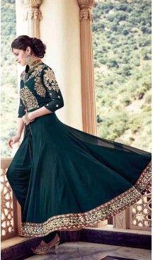 Bottle Green Color Georgette Achkan Style Narrow Pants Suit | FH531080083 #anarkali , #salwar , #kameez , #dresses , #suits , #designer , #colors , #pinterest , #Shopping , #fashion , #boutique , #online , #heenastyle , #indian , #style , @heenastyle , #longanarkali, #pakistani, #churidar