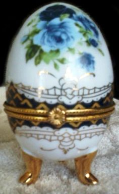 Blue Porcelain Egg Hinged Box - Hand Painted W/Gold - Rose Flower Inside