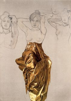 """Folds Study"" by Alphonse Mucha (Czech, 1860–1939) semi-nude female sketches. alfonsmucha.org"