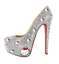Glass Crystal Kitty Red Sole Platform Pumps by bunnycloset on Etsy - StyleSays