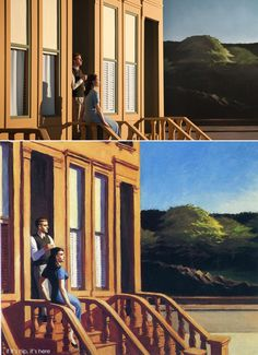 above left: original paintings by Edward Hopper and above right, the set designs for Shirley – Visions of Reality. Director Gustav Deutsch brings 13 Hopper paintings to life in his film, Shir… John William Waterhouse, Shirley Visions Of Reality, Edouard Hopper, Morning Sun, Edward Hopper Paintings, Gustave Courbet, Malcolm Liepke, John Singer Sargent, Wassily Kandinsky