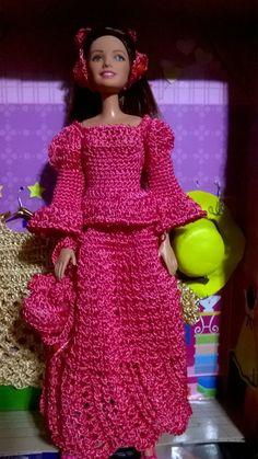 Evening Dress For Barbie Doll Barbie Dolls, Barbie Stuff, Crochet Barbie Clothes, Evening Dresses, Summer Dresses, Crochet Snowflakes, Barbie Patterns, Crochet Projects, Ideias Fashion