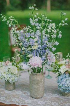 blue and purple wildflower centerpiece