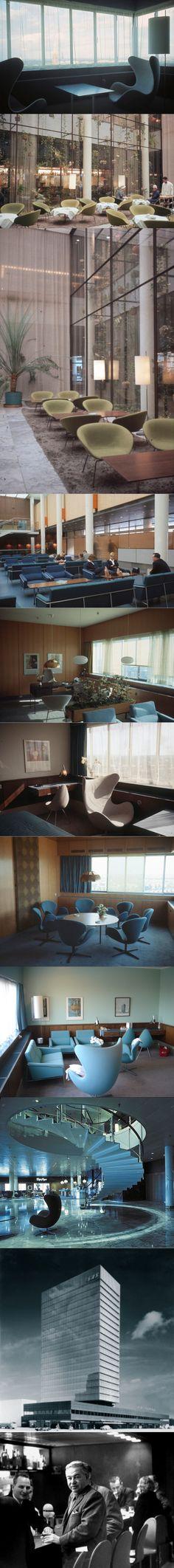 1958-1960 Arne Jacobsen - SAS Royal Hotel / Copenhagen Denmark / 3320 Swan chair - floor lamp / 3300 Series chair & sofa / Drop chair / 3320 Swan chair / blue green