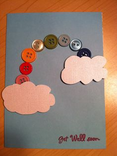 A button rainbow get well card is sure to make anyone smile!