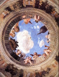 Renaissance artists put the newly perfected technique of linear perspective to light-hearted as well as serious uses. The trompe-l'oeil ceiling opening Andrea Mantegna painted for his patron Ludovico Gonzaga is a virtuoso demonstration of perspective. Renaissance Kunst, Renaissance Artists, Renaissance Paintings, Fresco, Best Art Books, Andrea Mantegna, Art Et Architecture, Murals Your Way, Perspective Art