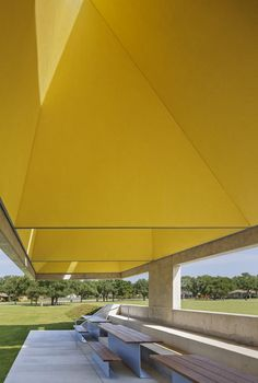 Webb Chapel Park Pavilion by Cooper Joseph Studio - a palapa chimney draws hot air up through an opening