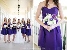 purple and white wedding, purple alfred sung bridesmaid dresses, white bouquets, the milestone wedding venue