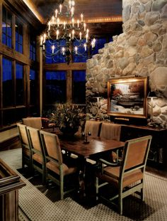 Warm & Cosy Dining, the type of dining room you'd have in your holiday house at Whistler.