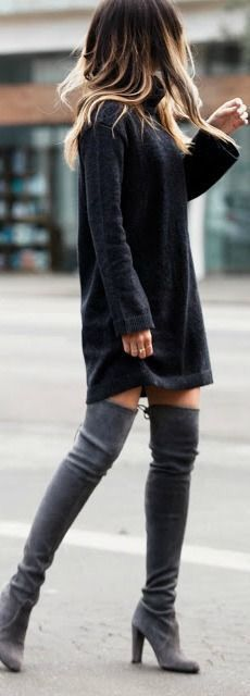 GET THE LOOK - Black, turtleneck sweater dress with over-the-knee boots outfit - street style night out fashion. - Total Street Style Looks And Fashion Outfit Ideas Mode Outfits, Fall Outfits, Casual Outfits, Summer Outfits, High Boot Outfits, Outfits With Boots, Dress Casual, Winter Outfits For Teen Girls Cold, Hipster Outfits Winter