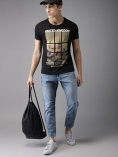 Buy HERE&NOW Men Black Printed Round Neck T Shirt - Tshirts for Men 5508846 | Myntra