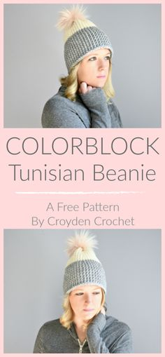 Colorblock Tunisian Beanie - A free pattern by Croyden Crochet Crochet this beginner friendly Colorblock Tunisian Beanie pattern using a bulky weight yarn. Pattern is worked flat and then sewn up the side. Tunisian Crochet Patterns, Crochet Beanie Pattern, Knitting Patterns, Bonnet Crochet, Crochet Yarn, Crocheted Hats, Crochet Granny, Lace Knitting, Free Crochet