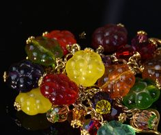 Lollypop rainbow glass blacelet Lampwork by FireMonkeyCreations