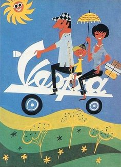 Another summer holiday themed #Vespa poster. #adoptanobject via @wayneford