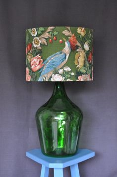 Large Lampshade In Vintage Sanderson Exotic Bird Fabric