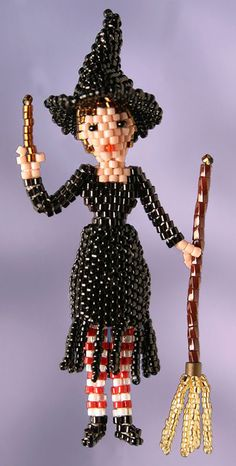 3D Beaded Little Witch Doll Pattern | Bead-Patterns.com