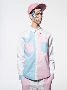 -GARMENT INTERPRETATION #1- Nicopanda Spring/Summer 2015 Lookbook_fy6- This is a good representation of the soft pop trend due to the use of pastel colours such as; light pink, light blue, and white as well as a very minimalistic silhouette completed with a playful face painting.
