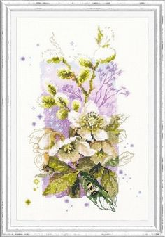 New Counted Modern Floral Cross Stitch kit, Hand Embroidery Kit by Russian Manufacture, Flower Bouquet, Hellebore Flower Embroidery Mini Cross Stitch, Modern Cross Stitch, Cross Stitch Kits, Cross Stitch Patterns, Etsy Embroidery, Cross Stitch Embroidery, Crossstitch, Handmade Leather, Hello Kitty