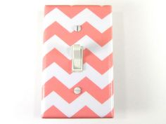 Light Switch Plate Cover in Pink Chevron - Nursery, Child & Home Decor - Choose Your Color. $8.00, via Etsy.