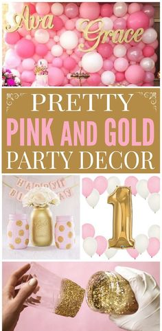 Pink & Gold Party Decorations I have noticed over the past few years that if Pink Gold Party, Pink And Gold Birthday Party, Gold First Birthday, 1st Birthday Girls, Princess Birthday, Golden Birthday Parties, 18th Birthday Party, Pink Parties, Birthday Party Decorations