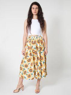 Rayon Button Up Long Skirt