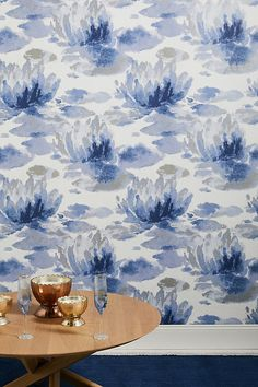 Water Lily Wallpaper Water Lily Wallpaper by Candice Olson in Blue, Wall Decor at Anthropologie<br> Designed by Candice Olson, this wallpaper livens up any space with its dreamy, watercolored lilies. Lily Wallpaper, Unique Wallpaper, Macbook Wallpaper, Room Wallpaper, Nature Wallpaper, Handy Iphone, Wallpaper Manufacturers, Candice Olson, Greek And Roman Mythology