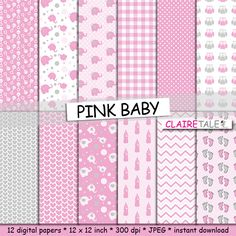 """Buy Baby digital paper: """"PINK BABY"""" with elephants, foot print, hearts, rattles, baby bottles, owls, gingham, polka dots in pink and grey by clairetale. Explore more products on http://clairetale.etsy.com"""