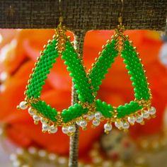Green & Gold Geometric Handmade Beaded Earrings w/ Pearls