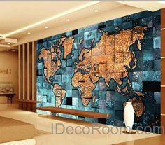 3d blue ocean abstract world map wallpaper wall decals wall art