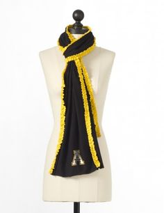 Appalachian State University Ruffled Team Scarf in Black & Gold