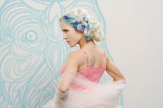 Inspired by Concrete Galleries V Artist Mike Ciccotello, the team at Salon Concrete conceived and developed a whimsical hair collection of radiance and color, punctuated by flashes of extreme color brilliance, delicate hair wrapping & fun, wearable looks. Photography by McKay Imaging.