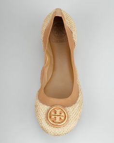 Tory Burch metallic canvas flats.