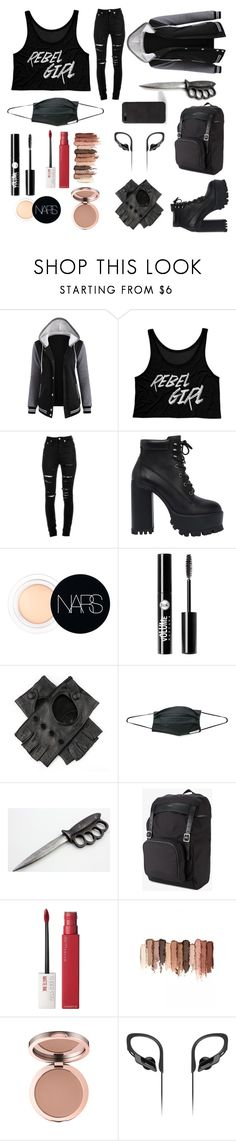 """Rebel girl"" by emmysaur ❤ liked on Polyvore featuring Yves Saint Laurent, Windsor Smith, NARS Cosmetics, Charlotte Russe, Black, Maybelline, tarte and Panasonic"