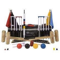 The Executive Croquet Set from Garden Games includes high quality mallets, balls, hoops, flags, clips and more croquet equipment. Shop now for the perfect croquet set. Free Delivery on this product. Metal Pole, Wooden Poles, Club Style, Nylon Bag, Uber, Tool Kit, Unique Gifts, Brass, Play