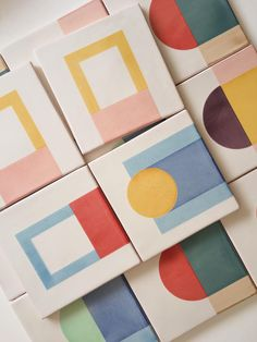 """Inspired by the """"Architecture of Colours"""", Geometrie Componibili is a ceramic tile collection designed by Elisa Passino and handmade in Portugal by New Terracotta. The collection presents 9 designs, available in infinitive colourways. Deco Design, Tile Design, Contemporary Tile, Glazed Tiles, Handmade Tiles, Handmade Ceramic, Tile Patterns, Screen Printing, Design Inspiration"""