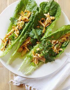 thai chicken lettuce boats - Take A Bite